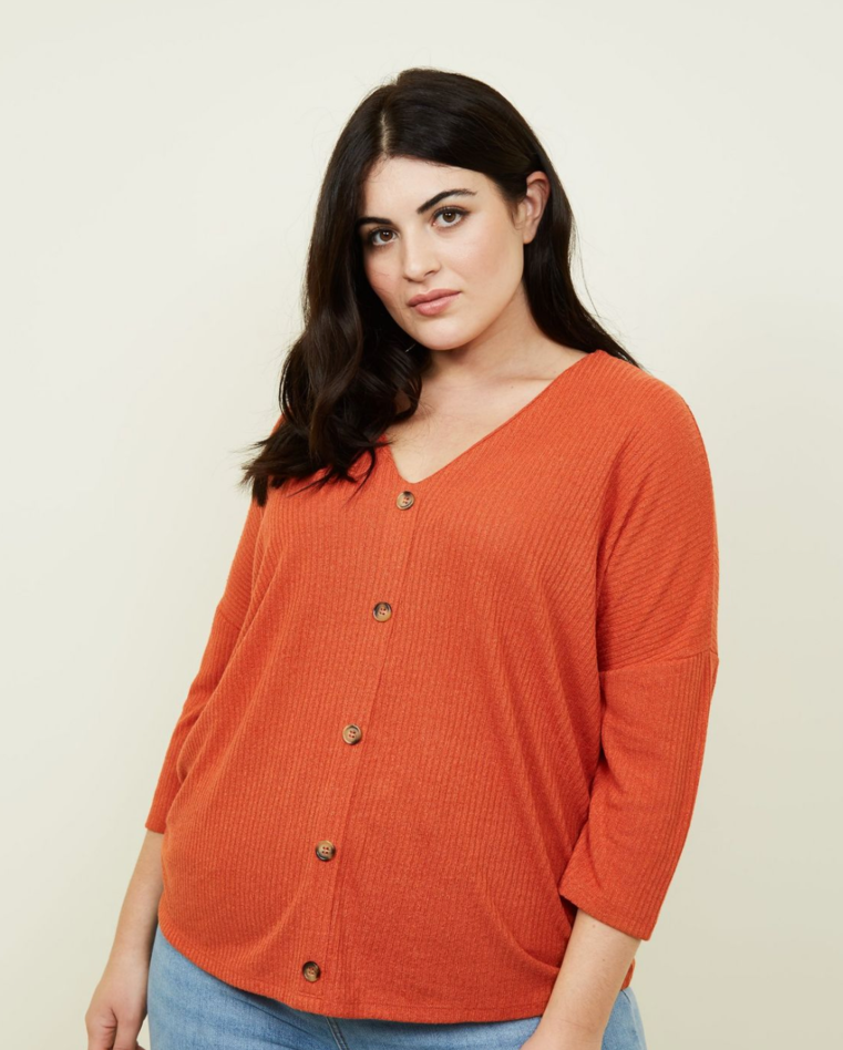 Curves Orange Fine Knit Button Front T-Shirt - £11.99