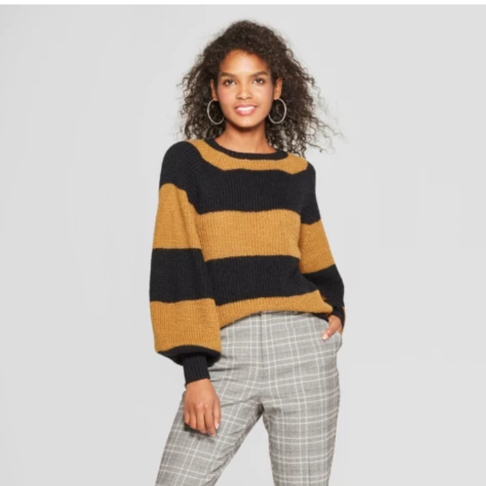 Women's Striped Long Sleeve Cozy Crew Neck Sweater - Who What Wear - $32.99