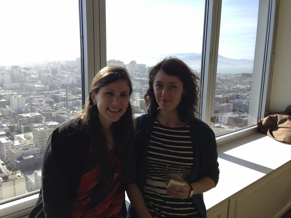 Courtney and Emily hanging in a hotel overlooking Chicago at the American Education Research Association, 2015.