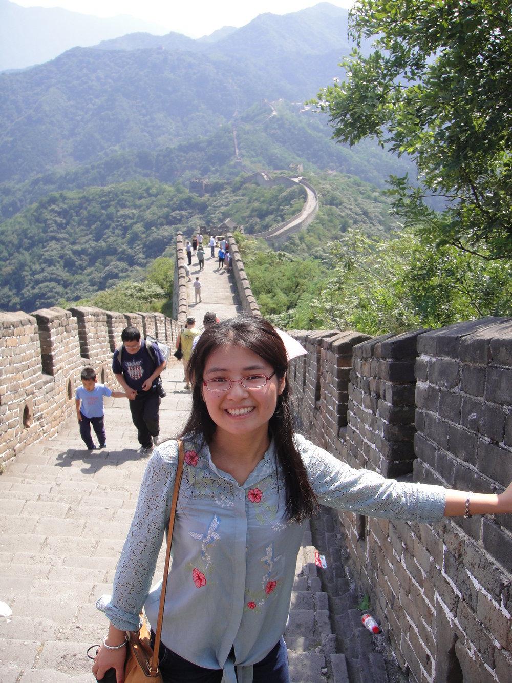 Yuting at the Great Wall of China.