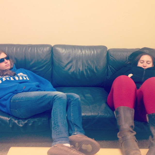 Sophie and Lauren lounging during a break from statistics night class, November 2014.