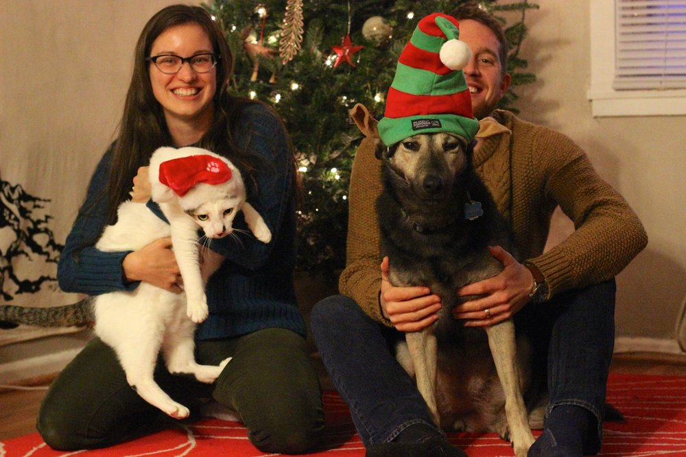 Ally and Denis with pets Dexter and Darla, Christmas 2015.