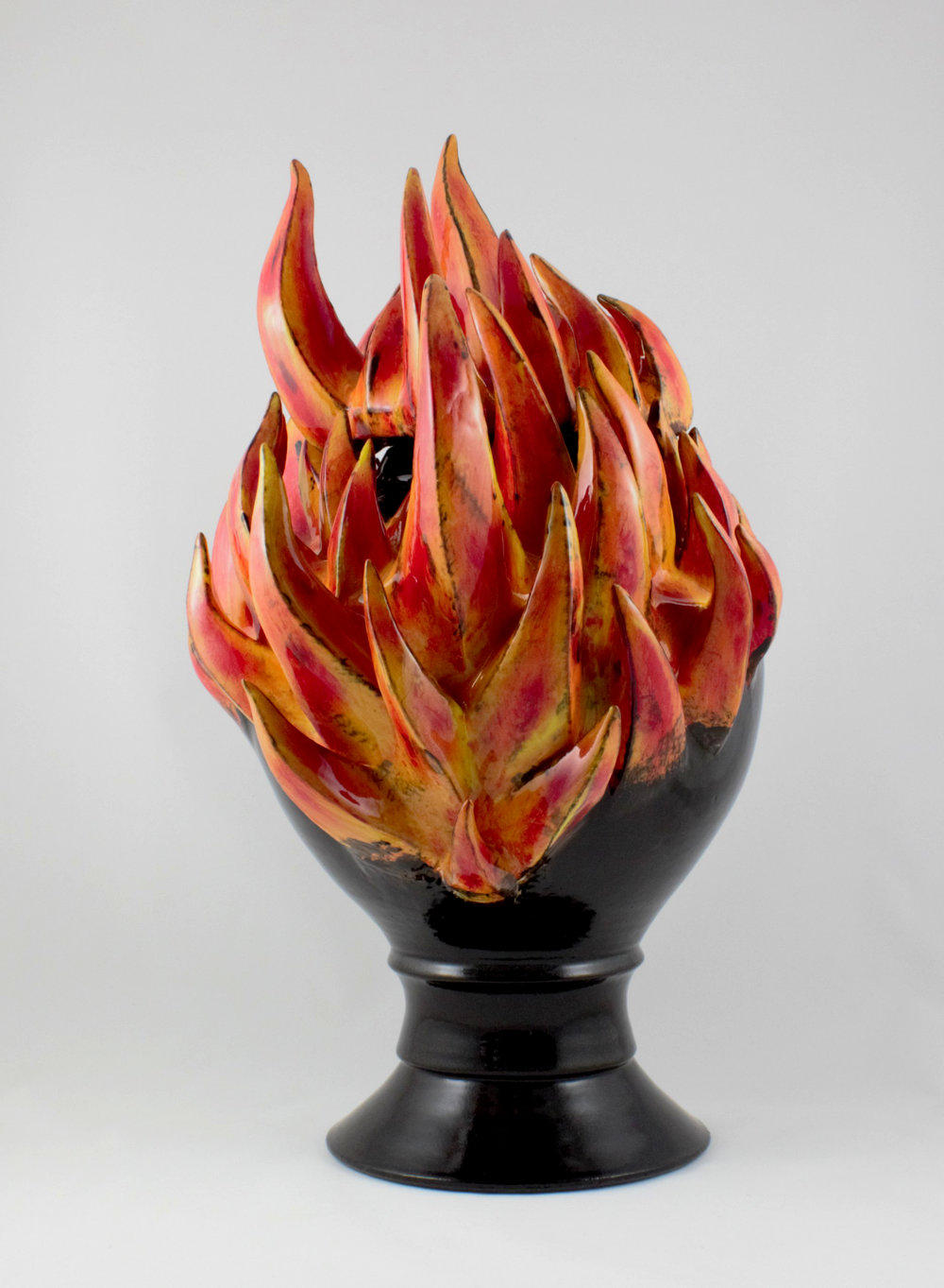 "Flaming Urn  , 2016, Ceramic, High Fire, 17.5"" H x 10.5"" W x 10.5"" D"