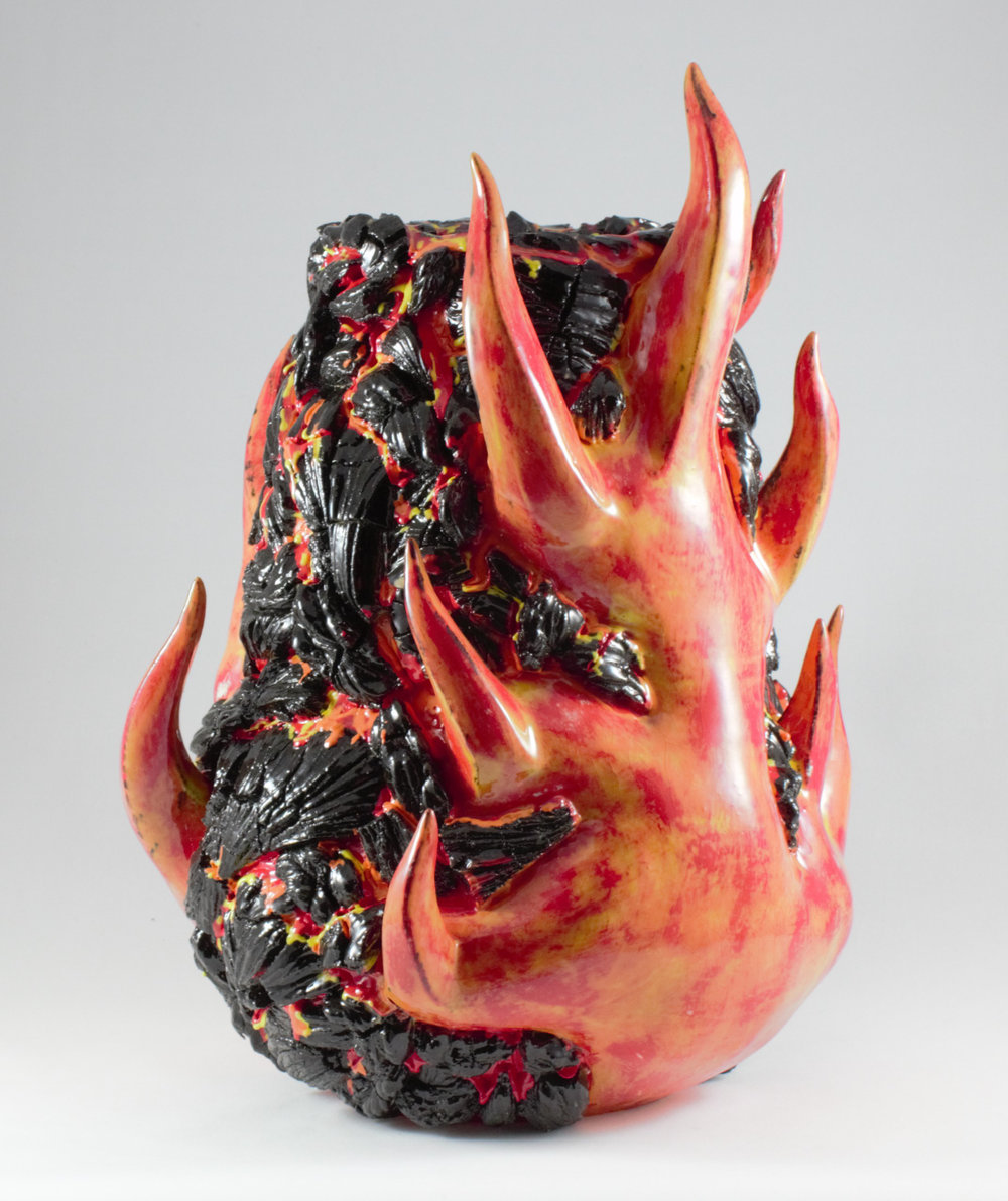 "Fire and Lava  , 2016, Ceramic, High Fire, 12.5"" H x 10"" W x 10"" D"