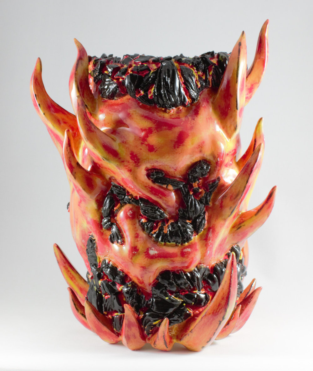 "Fire and Lava 2  , 2016, Ceramic, High Fire, 13"" H x 10.5"" W x 10.5"" D"