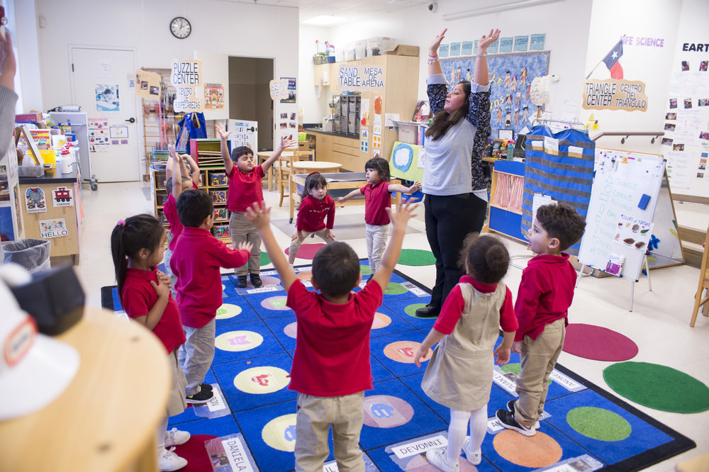Juanita Cabrales teaching mindful breathing and movement to her preschool students at Momentous Institute in Dallas, Texas