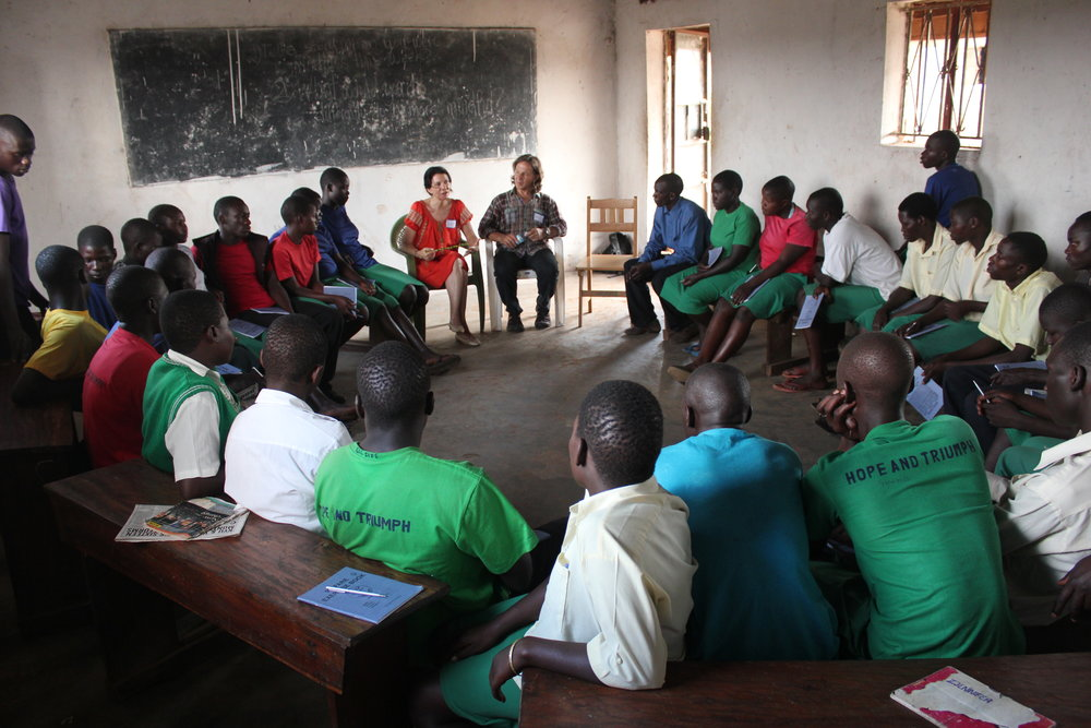 [Photo: Teaching at Hope North Vocational and Secondary School with colleague Gary Diggins]