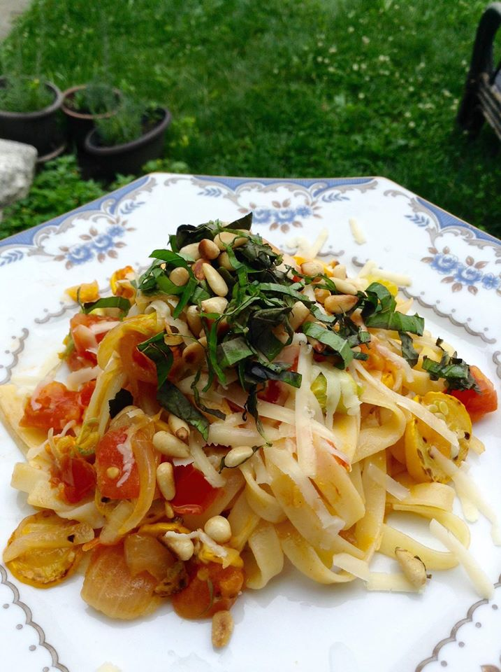 Squash Blossom Fettucine with Pine Nuts and Cherry Tomato