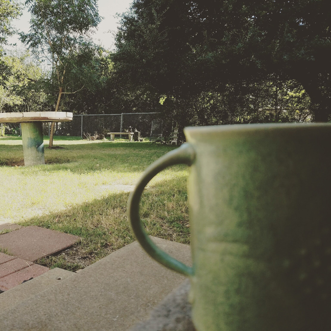 Coffee on my back porch