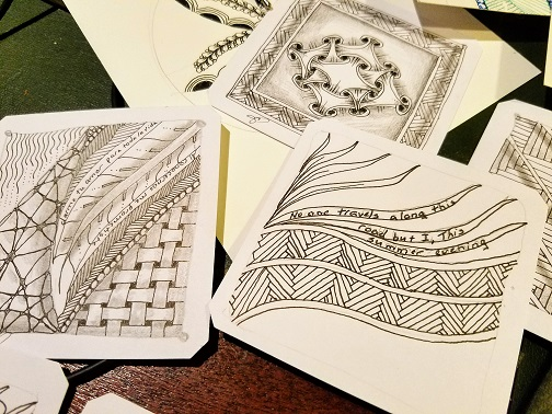 Zentangles 2 – I tend to incorporate phrases, lyrics and quotes into my tangles, the kind of phrases that stick in my mind for days on end.
