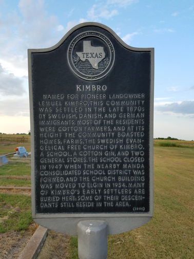 Texas Historical Marker for the town of Kimbro