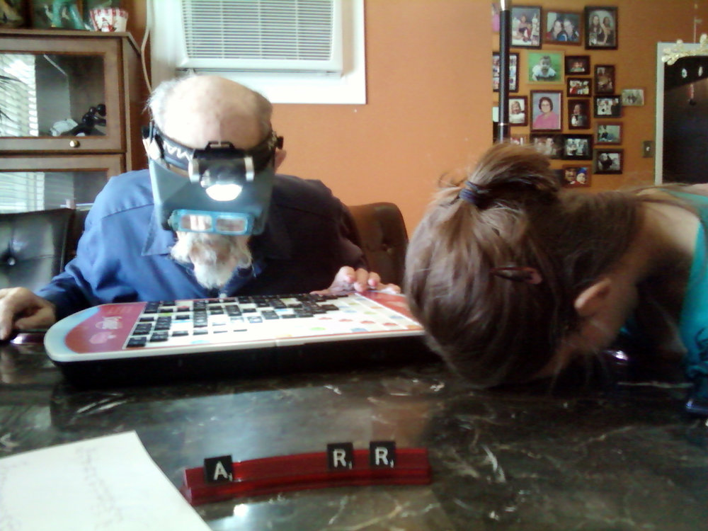 When my father finally lost his vision I was able to beat him at Scrabble, and not one day before.