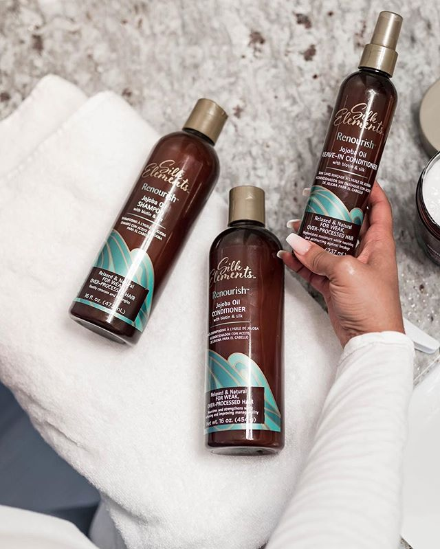 #Renourish and revive your hair this week with our NEW #Jojoba Oil collection. 😍 With moisturizing and strengthening ingredients, this collection will bring weak and over processed hair back to life. 👋🏿👋🏾👋🏽👋🏼Bye, bye bad hair days! Exclusively sold at @sallybeauty. #SilkElements #SallyBeauty