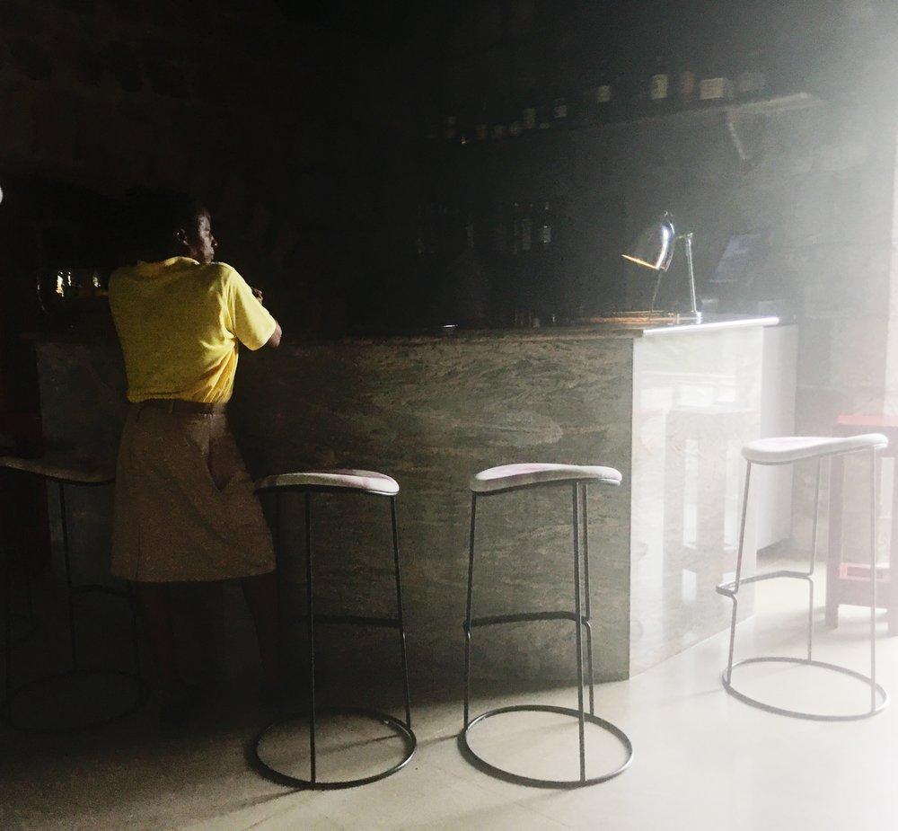 The bar at Golden Rock Inn
