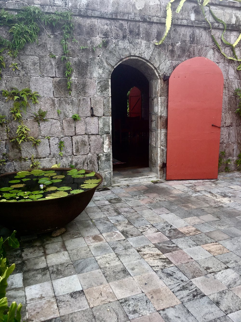Bold Red and stone