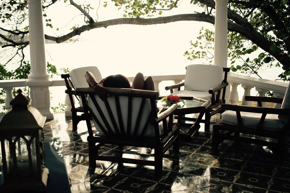 On the terrace at Jamaica Inn