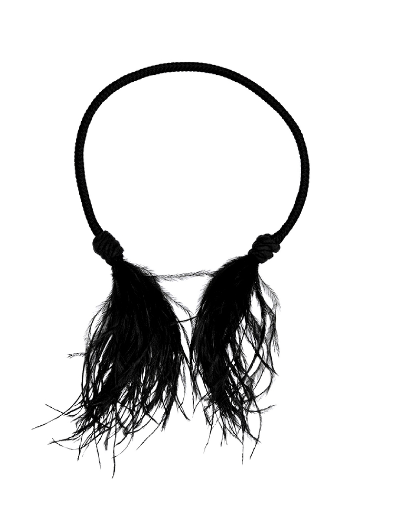 Saint Laurent LouLou Choker With Black Ostrich Feather Tassels