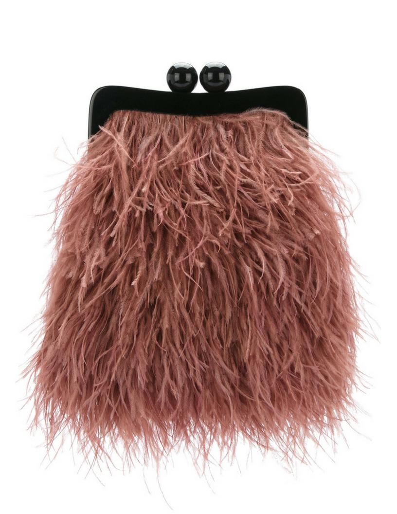 Maison Esve handmade silk and ostrich feather clutch