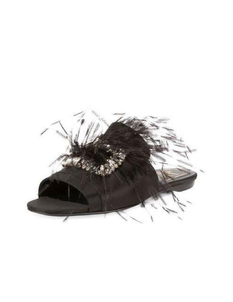 Roger Vivier Rabat Feather Flat Mule Sandal