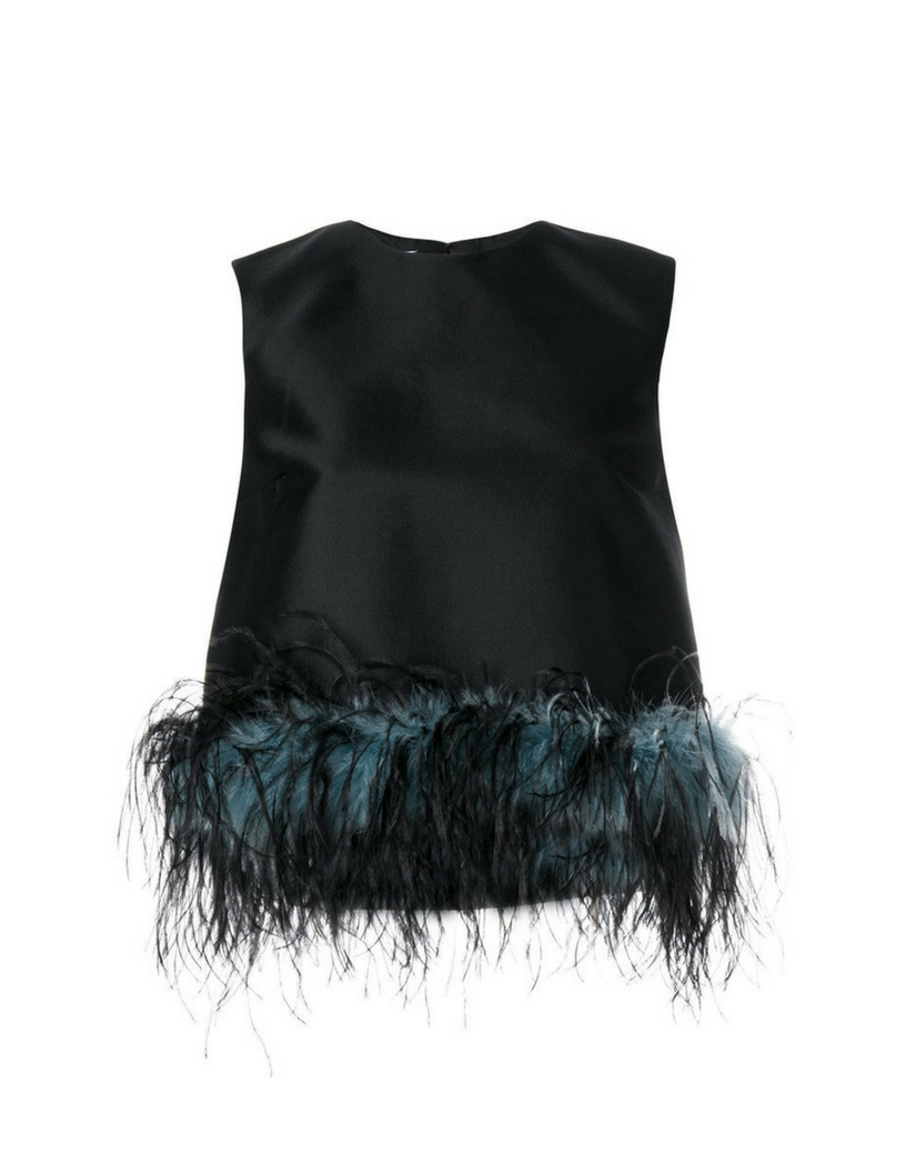 PRADA Feather-trimmed wool-blend top