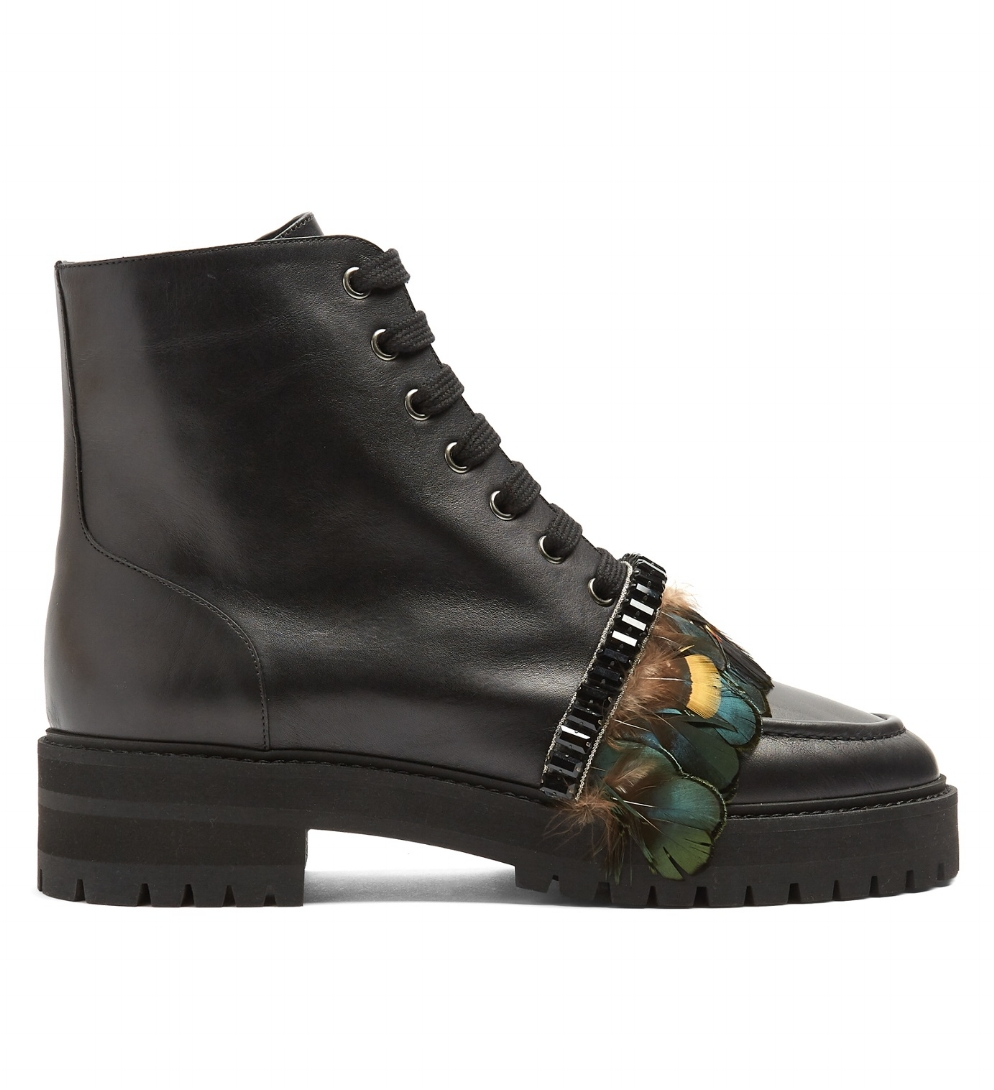 ROCHAS Feather-trimmed leather ankle boots