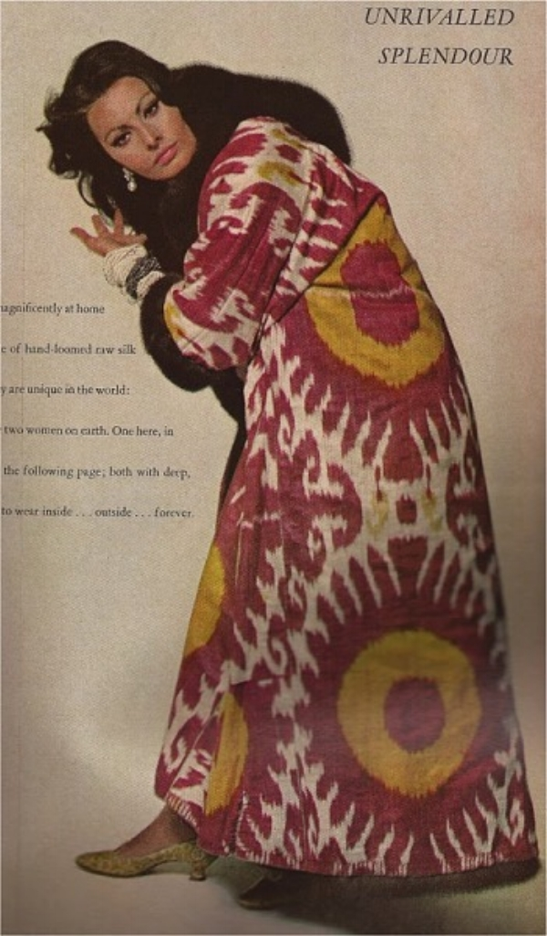 SOPHIA LOREN IN A FUR LINED IKAT ROBE. PHOTO BY RICHARD AVEDON FOR VOGUE 1966