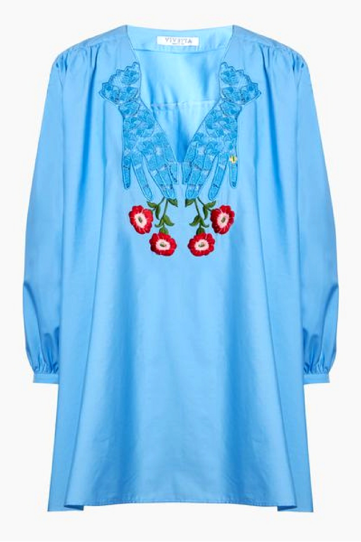 This vintage inspired  Vivetta Corriere Embroidered Cotton Blouse  would be prefect over a bikini and paired with denim shorts and sandals