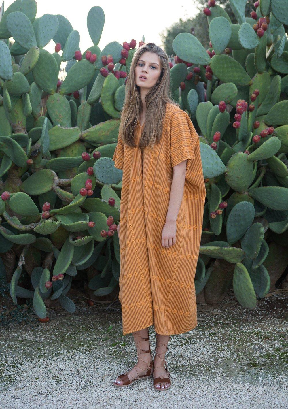 Pippa Holt Kaftan No.27 in ochre and brown stripe with ochre design.