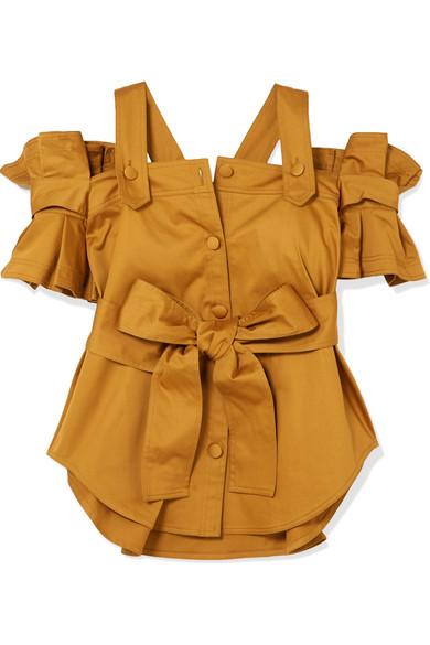 Silvia Tcherassi - Giuliani Cold-shoulder Belted Ruffled Cotton-blend Top