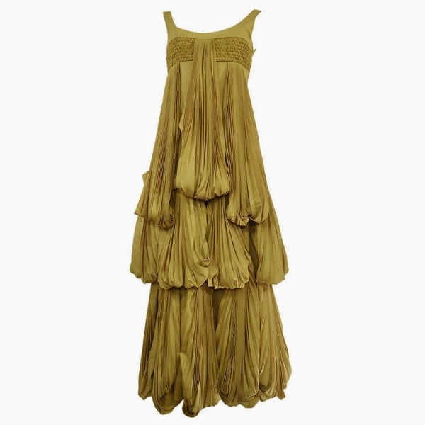 2008 Byblos Ochre Silk Evening Dress