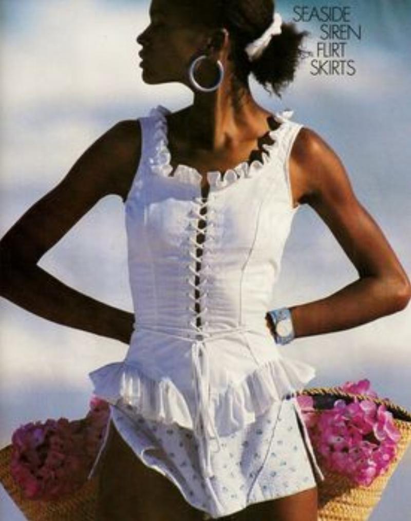 """Elle US February 1987 """"St, Tropez Heat"""" Model: Karen Alexander Photo: Gilles Bensimon."""