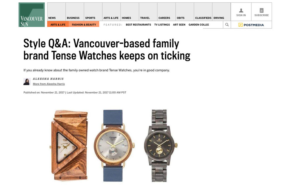 Tense Watches - Vancouver Sun