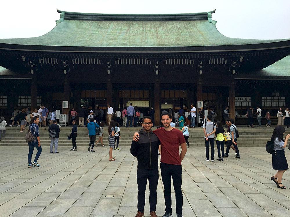 Meiji Shrine in Tokyo, Japan. Velvetea co-founders Alejandro (left) and Ricardo (right)