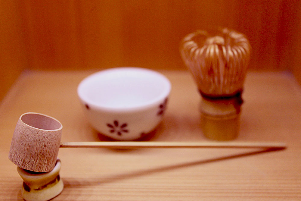 Kyoto, Japan; miniature Matcha set. From left to right: Hishaku (water scoop), Chawan (tea bowl), and Chasen (whisk).