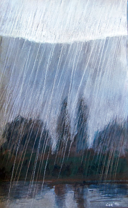 "Rain in France, gouache and pastel on paper, 5"" x 7"""