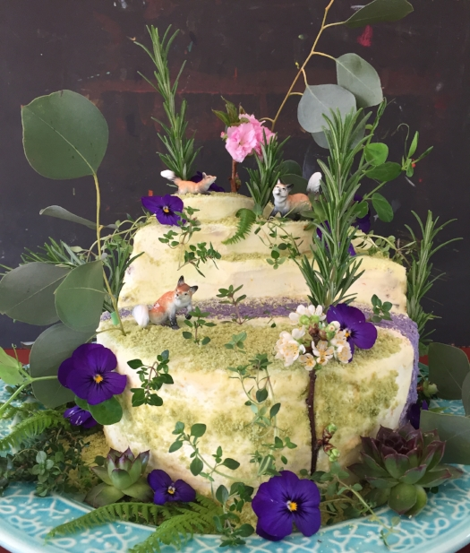 20th Anniversary cake made with love, flowers, homemade hippy-dippy natural food coloring, and vintage porcelain foxes. Because I'm just that nuts. ©2016