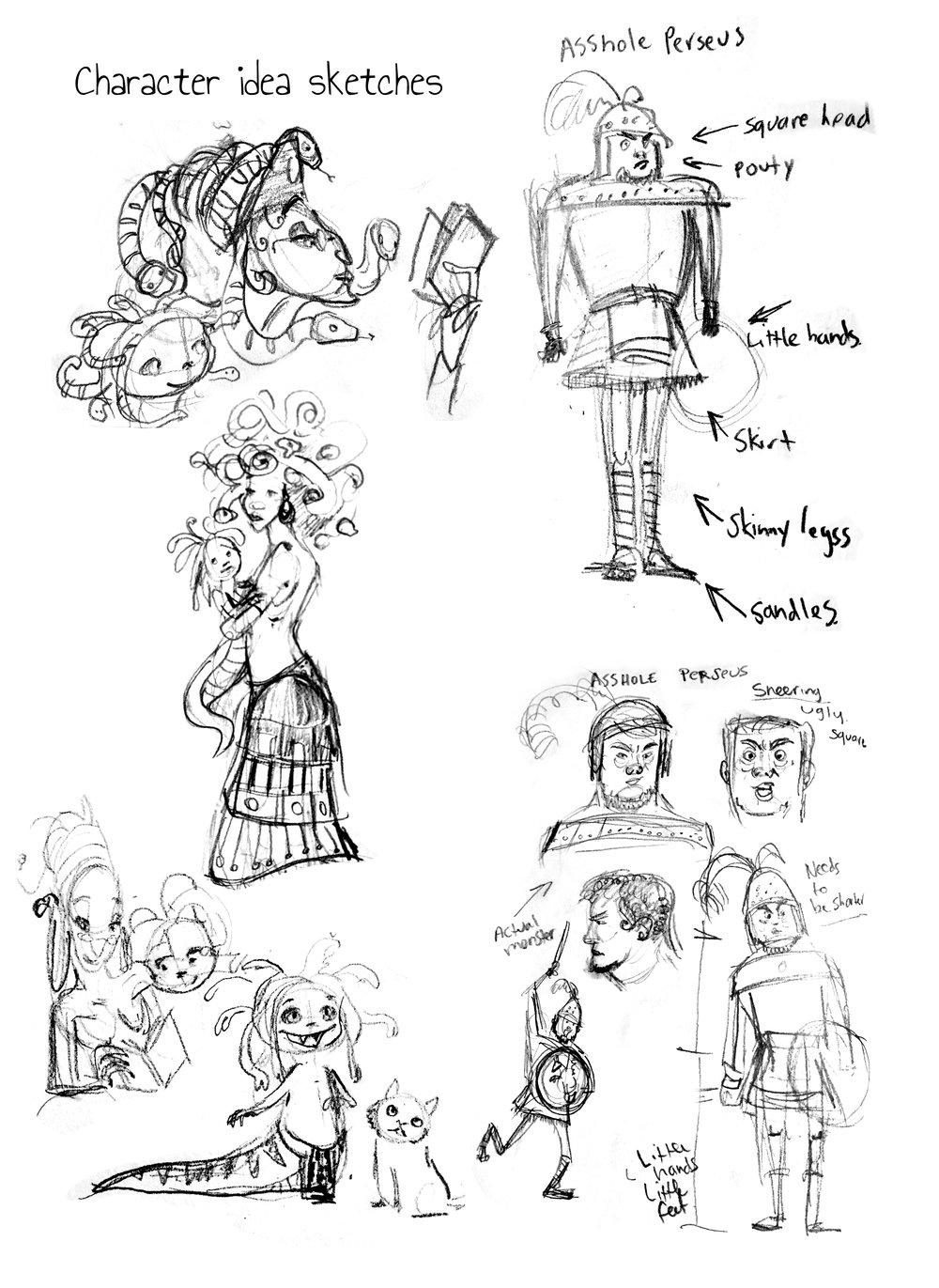 character design ideas for Medusa piece
