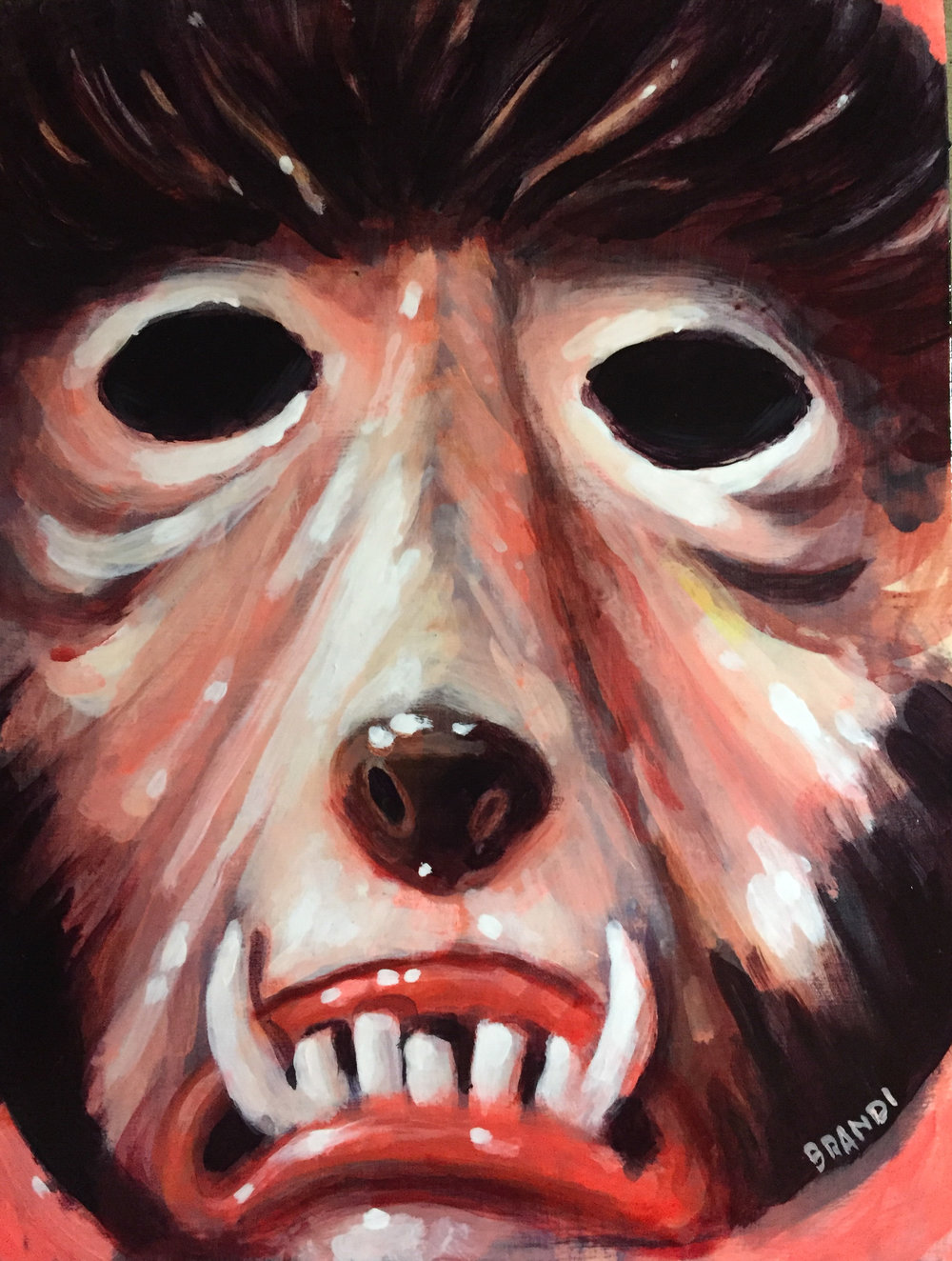 """Wolf-Man"" Halloween Mask  8""x6"" acrylic study on panel  $500 Shipped within the US"