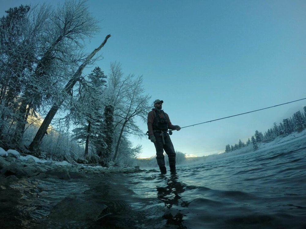 Wading down a bitter cold run on the Kenai River in Alaska
