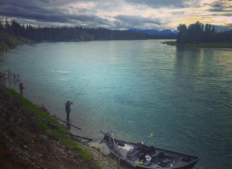 Fishing for    Sockeye Salmon    on the Middle    Kenai River   .