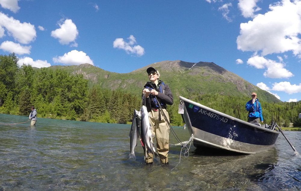 A successful family outing on the Upper Kenai River during the first Sockeye Run in June.