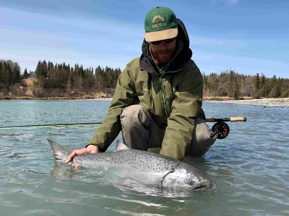 Jordan with a beautiful, sea-lice laden, chrome hatchery hen chinook. Watching him land this beast will forever be etched in our memories. What a special moment and special fish that chose to meet us at that time and place.