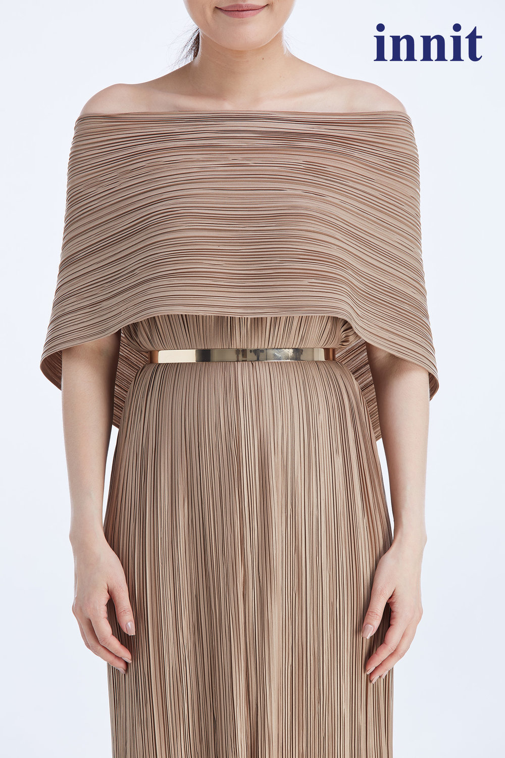 PLATE BELT  in rose gold    Oscar Maxi Dress