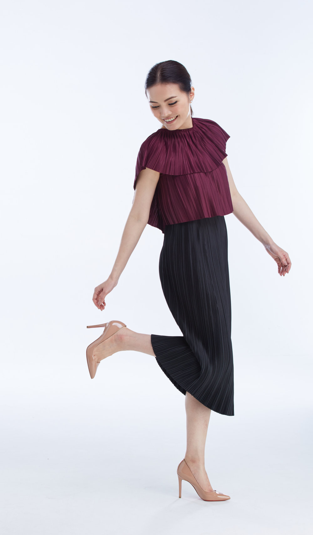 CAMPARI TOP worn with  PLEAT SKIRT  30""