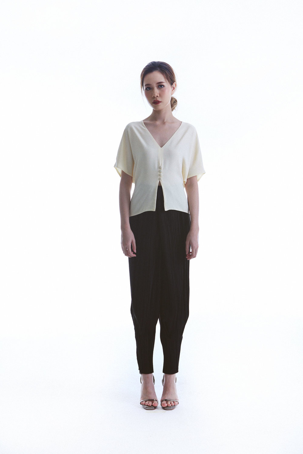 Saint Top worn with Laid Pants