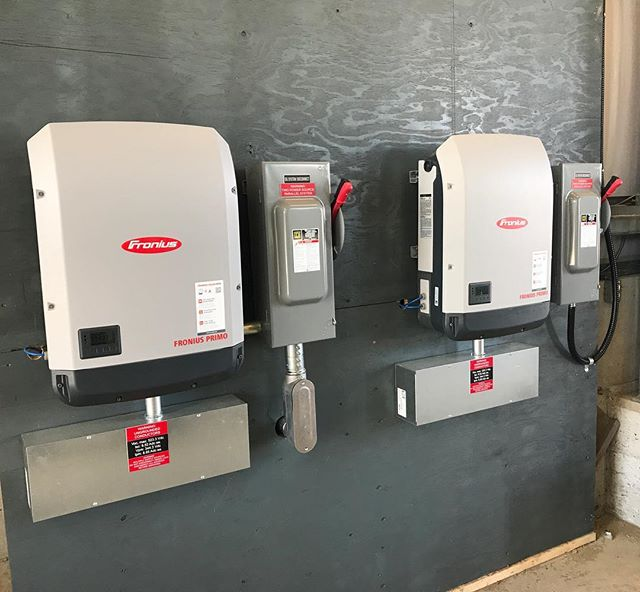 Two 15kW inverters on a system we recently completed running at full steam converting DC to AC and feeding into the grid! . . . . #solar #renewableenergy #gridtie #greenenergy #greentech #froniussolar #canadiansolar #hightideenergy #britishcolumbia