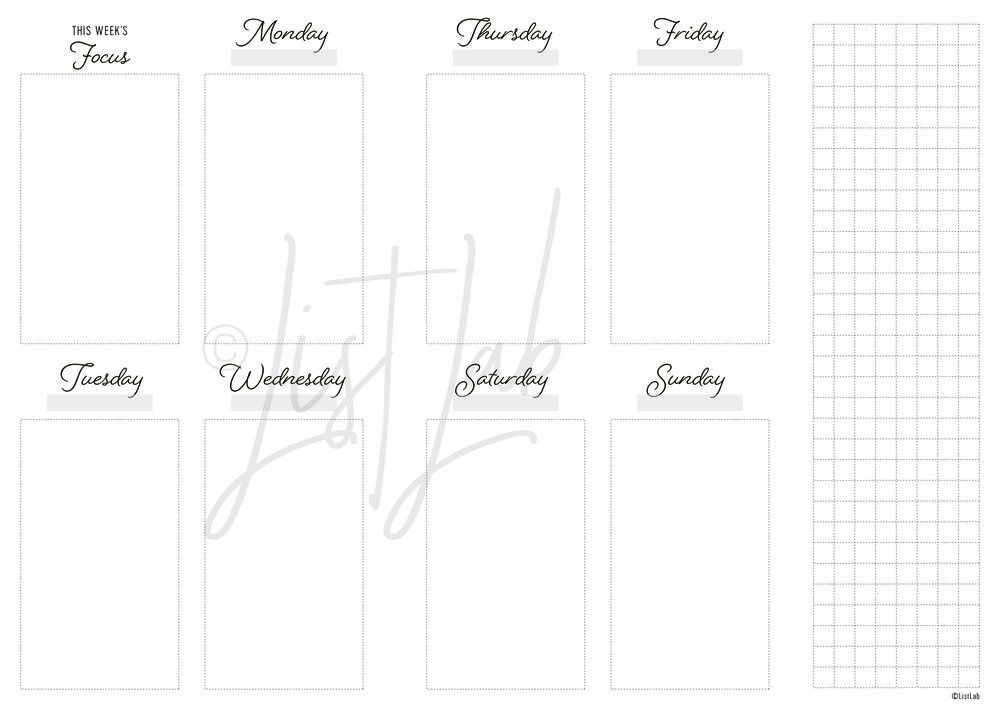 2-PAGE WEEKLY VERTICAL WITH GRID FLAP (WO2P VU WITH FOLD)