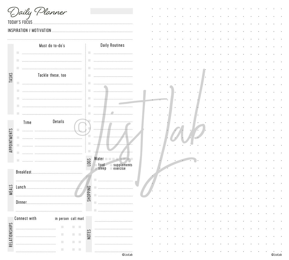 DAILY PLANNER VARIATION: DAILY PLANNER AND DOTTED PAGE (DAILY P WITH VARIATION)