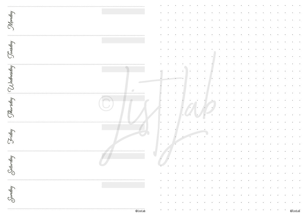 1-PAGE WEEKLY VARIATION: 1 PAGE WEEKLY HORIZONTAL AND DOTTED PAGE (WO1P H WITH VARIATION)