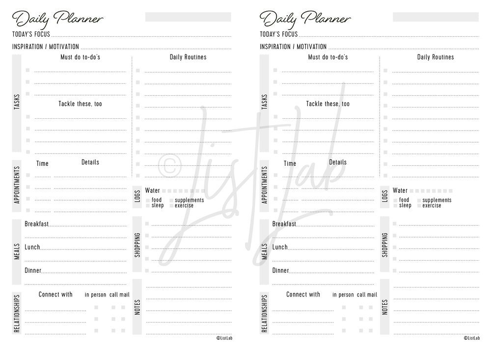 DAILY PLANNER (DAILY P WITH VARIATION)
